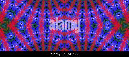 Rojo y azul sin costuras patrón de fondo, repetición abstracto caleidoscopio forma fondo simétrico para el diseño gráfico Foto de stock