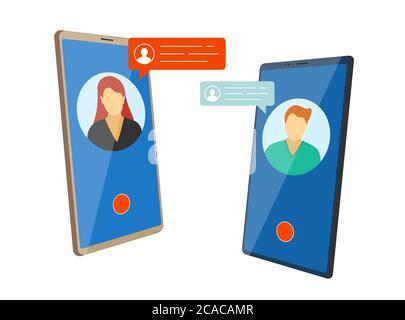 Videoconferencia web móvil. El hombre y la mujer utilizan la videollamada en las pantallas isométricas del smartphone con burbujas de chat. Concepto de reunión en línea o citas. Aplicación de comunicación vector eps diseño plano