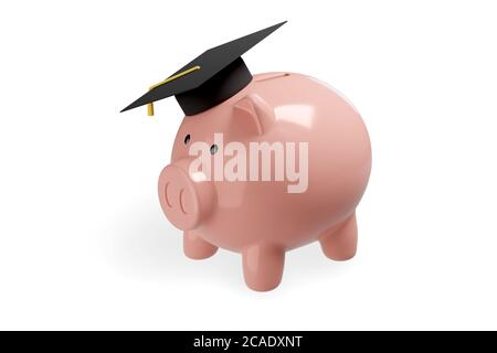 Banco piggy con tapón de graduación aislado sobre fondo blanco. Concepto de ahorro. ilustración 3d.
