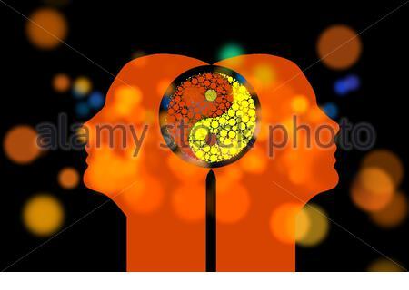 Una ilustración de dos cabezas humanas conectadas con un símbolo yin y yang sobre un fondo negro con luces bokeh Foto de stock