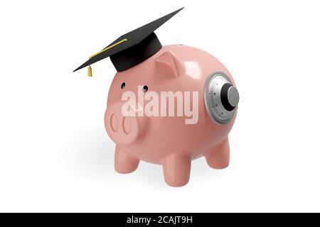 Banco piggy con cerradura de seguridad y tapón de graduación aislado sobre fondo blanco. Concepto de protección del ahorro. ilustración 3d.