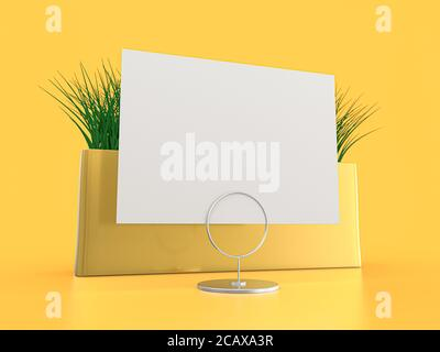 Papel en blanco Mesa Tent. Mockup sobre fondo amarillo. Renderizado en 3D.