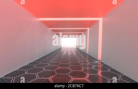 Fondo vacío largo corredor moderno, túnel cuadrado blanco con luz roja y piso hexagonal. Imagen de renderizado en 3D