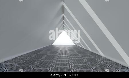 Fondo vacío largo pasillo moderno claro, blanco túnel triangular con piso hexagonal. Imagen de renderizado en 3D