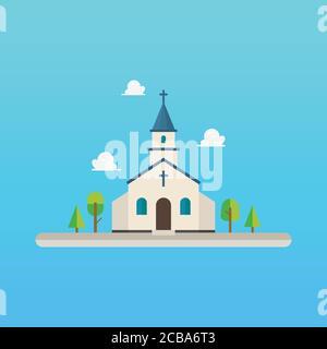 Iglesia de diseño plano. Ilustración vectorial