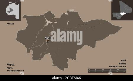 Forma de Mopti, región de Malí, y su capital. Escala de distancia, vistas previas y etiquetas. Mapa de altura en color. Renderizado en 3D Foto de stock