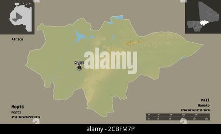 Forma de Mopti, región de Malí, y su capital. Escala de distancia, vistas previas y etiquetas. Mapa topográfico de relieve. Renderizado en 3D Foto de stock