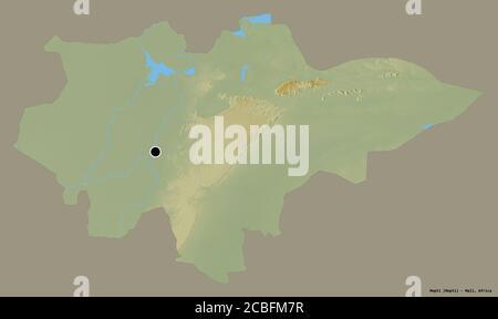 Forma de Mopti, región de Malí, con su capital aislada sobre un fondo de color sólido. Mapa topográfico de relieve. Renderizado en 3D Foto de stock