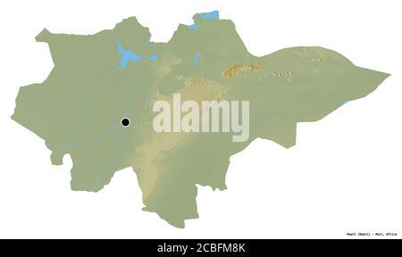 Forma de Mopti, región de Malí, con su capital aislada sobre fondo blanco. Mapa topográfico de relieve. Renderizado en 3D Foto de stock