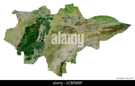 Forma de Mopti, región de Malí, con su capital aislada sobre fondo blanco. Imágenes por satélite. Renderizado en 3D Foto de stock