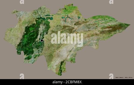 Forma de Mopti, región de Malí, con su capital aislada sobre un fondo de color sólido. Imágenes por satélite. Renderizado en 3D Foto de stock