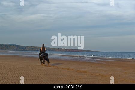Una jinete de caballos y su caballo Negro revoloteando por la playa desierta en St Cyrus en la marea baja en una cálida y soleada noche de septiembre.