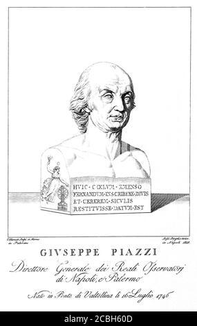 1818 , ITALIA : el célebre sacerdote y astrónomo italiano GIUSEPPE PIAZZI ( 1746 - 1826 ). Descubre de Cerere ( Ceres , el planeta enano ) en 1801 . Retrato grabado por Bossi ( 1818 ) del busto original de mármol esculpido por Villareale en Nápoles . - SCIENZA - ritratto - retrato - prete - sacerdote - SCIENZIATO - SCIENZA - CIENCIA - CIENTÍFICO - HISTORIA - foto storiche - ASTRONOMÍA - ASTRONOMÍA - ASTRÓNOMO - ASTRONOMO - ilustración - grabado - incisione - RELIGIÓN CATÓLICA - RELIGIONE CATTOLICA --- ARCHIVIO GBB Foto de stock