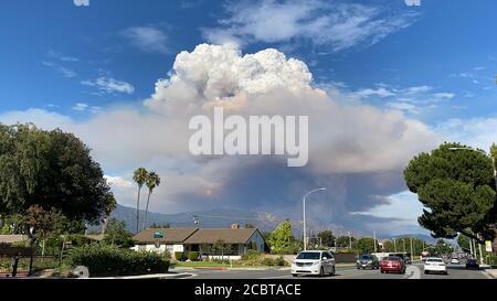 Los Ángeles, EE.UU. 13 de agosto de 2020. La foto tomada el 13 de agosto de 2020 muestra la nube de polvo del llamado incendio Ranch 2 en el condado de los Ángeles, Estados Unidos. El humo de varios incendios forestales que se queman en el sur de California ha causado una calidad del aire poco saludable, dijeron las autoridades el 15 de agosto. El llamado incendio de Rancho 2, que se quema en el Bosque Nacional de los Ángeles al norte de Azusa, ha quemado 1,400 acres (alrededor de 5.66 kilómetros cuadrados) y estaba solo 3 por ciento contenido a la mañana del sábado. El incendio se informó por primera vez el jueves por la tarde. Crédito: Gao Shan/Xinhua/Alamy Live News