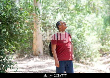 Retrato de un hombre de la tercera edad feliz de la actividad que lleva una mochila, disfrutando de una hermosa vista. Un anciano sano en un viaje de senderismo. Enfoque suave.