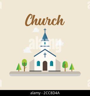 Iglesia en estilo plano. Estilo retro. Ilustración vectorial