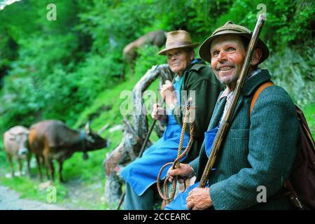 Italia, Trentino-Tirol del Sur, Alto Adige, Tirol del Sur, Vinschgau, de la vida antigua, los agricultores de montaña en el Tirol del Sur, Schlandrauntal, Schlanderser Alm, Hola