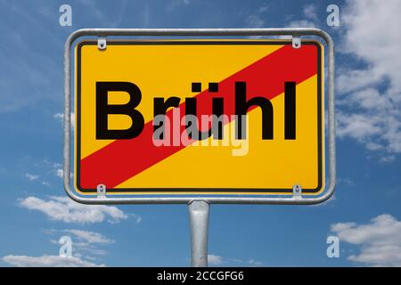 Ortstafel Brühl, Nordrhein-Westfalen, Deutschland   lugar nombre signo Brühl, Renania del Norte-Westfalia, Alemania, Europa