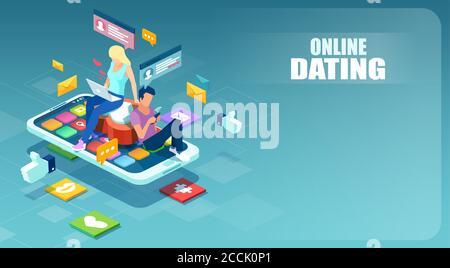 Online dating on social media platforms Concept. Vector de un hombre y una mujer jóvenes utilizando la aplicación móvil para charlar entre sí