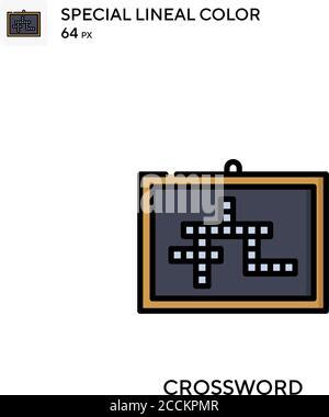 Icono de color lineal especial de crucigrama. Plantilla de diseño de símbolos de ilustración para elemento de interfaz de usuario móvil web. Pictograma moderno de color perfecto en trazo editable.