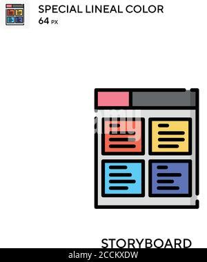 Guión gráfico icono de color lineal especial. Plantilla de diseño de símbolos de ilustración para elemento de interfaz de usuario móvil web. Pictograma moderno de color perfecto en trazo editable