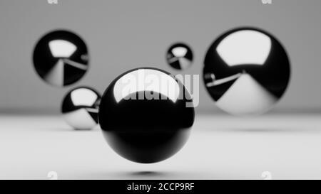Grupo de globos flotantes o de esferas que se asoman, superficie brillante metálica reflectante, representación 3d, ilustración abstracta
