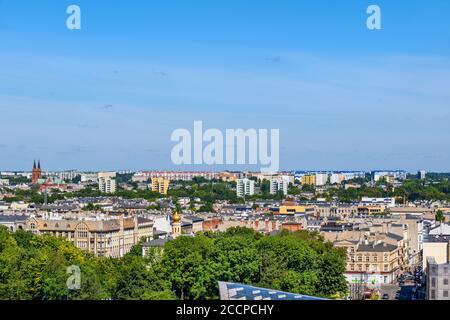 Ciudad de Lodz en Polonia, vista aérea paisaje urbano.