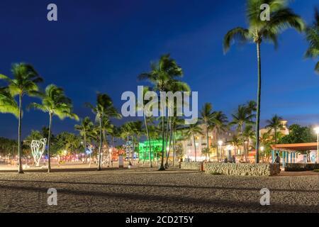 Ocean Drive en South Miami Beach con palmeras por la noche en Miami Beach, Florida