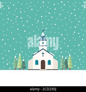 Iglesia de estilo plano en la temporada de invierno. Ilustración vectorial