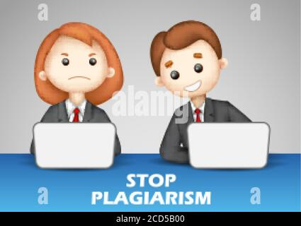 Detenga el plagio, robando y copiando ideas y pensamientos de conceptos originales y auténticos
