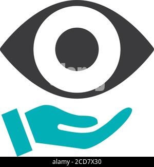 Ojo humano en la mano icono de color. Salud, tratamiento médico, símbolo de prevención de enfermedades Foto de stock