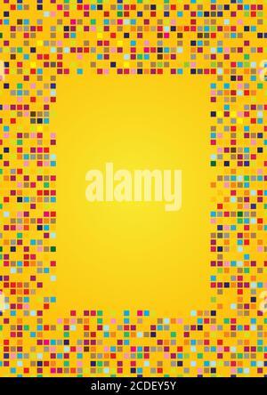 Fondo vectorial abstracto en amarillo brillante con mosaico cuadrado colorido patrones de mosaico Foto de stock