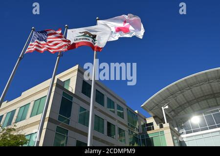 El campus de Apple Inc. Y la sede en One Infinite Loop, Cupertino CA