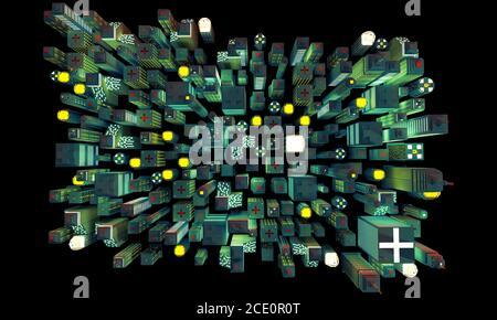 Vista aérea de la ciudad de neón de Nueva York de ladrillos de construcción de plástico por la noche. Vista aérea Ilustración 3D en perspectiva isométrica en pixel art f Foto de stock