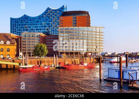 Distrito Speicherstadt en ciudad de Hamburgo, Alemania