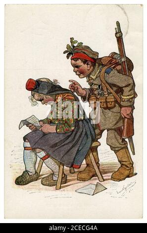 Tarjeta postal histórica alemana: Niños como adultos: El soldado regresó a su novia campesina de la guerra con una cruz de hierro. Una agradable sorpresa.