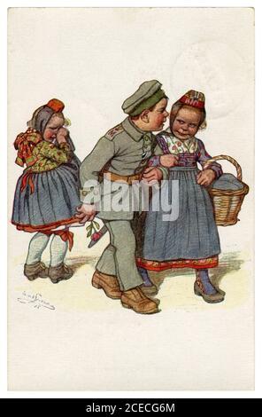 Postal histórica alemana: Niños como adultos: Corazón roto. El héroe soldado regresó de la guerra a la otra chica, por Beithan, Emil Alemania, 1915