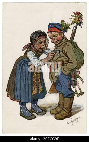 Postal histórica alemana: Niños como adultos: El soldado regresó a su novia campesina de la guerra con una cruz de hierro, Beithan Emil, 1915