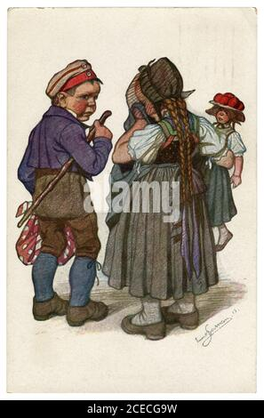 Tarjeta postal histórica alemana: Niños como adultos: Un joven campesino se despide de su amada mujer llora, la guerra mundial 1915, por el artista Beithan Emil