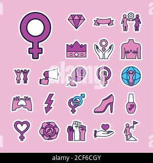 icono de manos y feminismo sobre fondo rosa, estilo de línea y relleno, ilustración vectorial Foto de stock