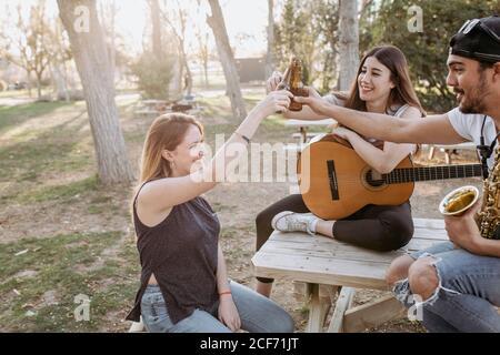 Grupo de jóvenes amigos con instrumentos musicales sonriendo y sonriendo botellas de cerveza mientras pasan tiempo juntos en el parque