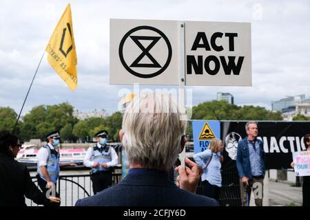 Gabriel's Wharf, Londres, Reino Unido. 6 de septiembre de 2020. XR, Extinction Rebellion, Flood Alert protesta en Gabriel's Wharf. Crédito: Matthew chattle/Alamy Live News