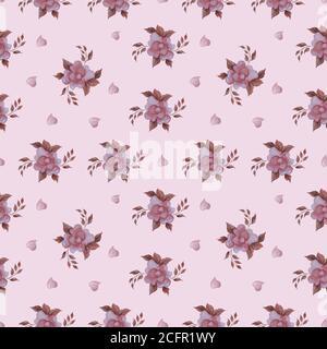 Patrones sin costuras. Semana romántica flores. Rosa rosa y corazones sobre fondo rosa. Para el día festivo de San Valentín, la decoración botánica y romántica y..