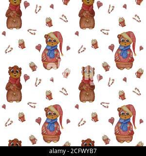 Patrones sin costuras. Animales encantadores. Un oso con una bufanda y una taza en sus patas y un oso con ropa de Navidad sobre un fondo blanco con dulces, dulces