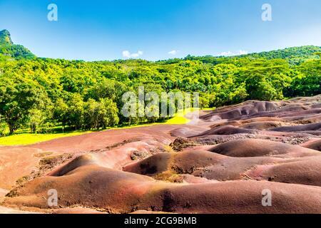 La hermosa Tierra de siete colores (Terres des Sept Couleurs), Chamarel, Isla Mauricio, Océano Índico, África