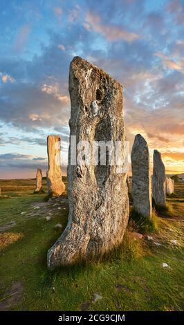 .Calanais Neolítico Piedra de pie (Tursachan Chalanais) , Isla de Lewis, Hébridas Exteriores, Escocia.