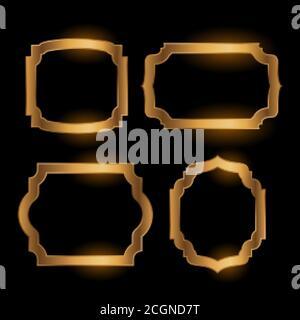 brillante dorado vacío marco vintage conjunto de cuatro Foto de stock