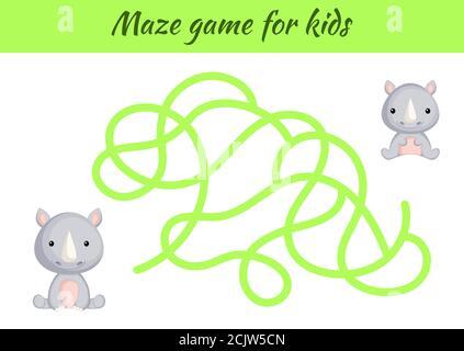 Divertido laberinto o juego de laberinto para los niños. Ayude a la madre a encontrar el camino hacia el bebé. Hoja de trabajo de desarrollo de educación. Página de actividad. Personajes de rinoceronte de dibujos animados. Acertijo