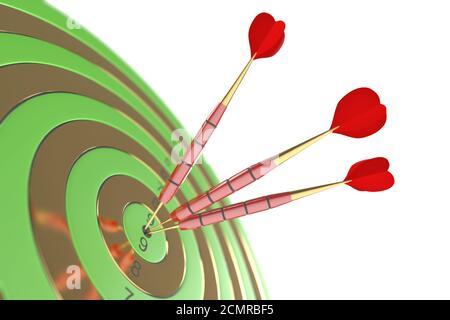 Tres dardos rojo golpeando la diana. Ilustración 3d Foto de stock