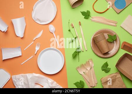 residuos plásticos no degradables de vajilla desechable y un juego de platos de la recycl ambiental